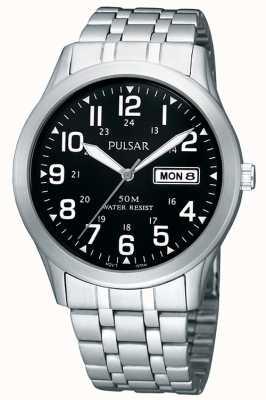 Pulsar | hommes | jour noir date cadran | bracelet en acier inoxydable | PXN181X1