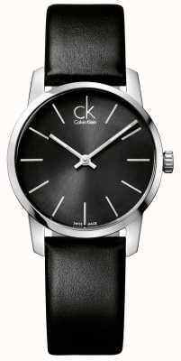 Calvin Klein cadran noir de dames de la ville bracelet en cuir noir K2G23107