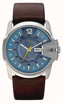 Diesel Mens cadran bleu brun montre bracelet en cuir DZ1399